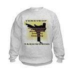 Traditional Taekwondo Tenets Gold Kids Sweatshirt