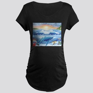 Whale Maternity Dark T-Shirt