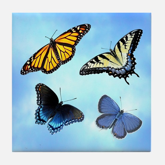 Assorted Butterflies Tile Coaster