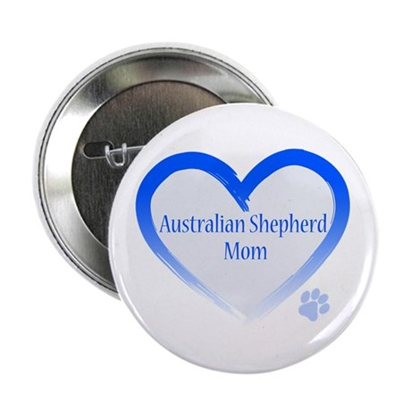 "Australian Shepherd Blue Heart 2.25"" Button"