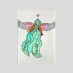 Teal Angel Rectangle Magnet