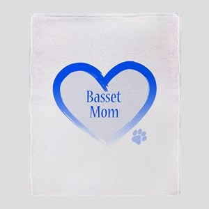 Basset Blue Heart Throw Blanket