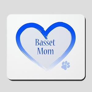 Basset Blue Heart Mousepad