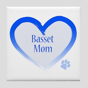 Basset Blue Heart Tile Coaster