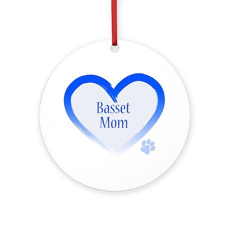 Basset Blue Heart Ornament (Round)