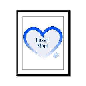 Basset Blue Heart Framed Panel Print