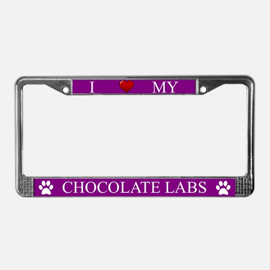 Purple I Love My Chocolate Labs Frame