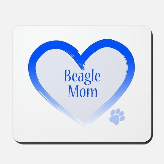 Beagle Blue Heart Mousepad