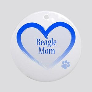 Beagle Blue Heart Ornament (Round)