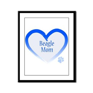 Beagle Blue Heart Framed Panel Print
