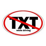 No Texting Sticker (Oval 10 pk)