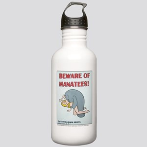 """BEWARE OF MANATEE"" Stainless Water Bottle 1.0L"