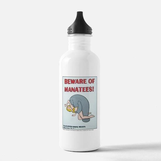 """BEWARE OF MANATEE"" Sports Water Bottle"