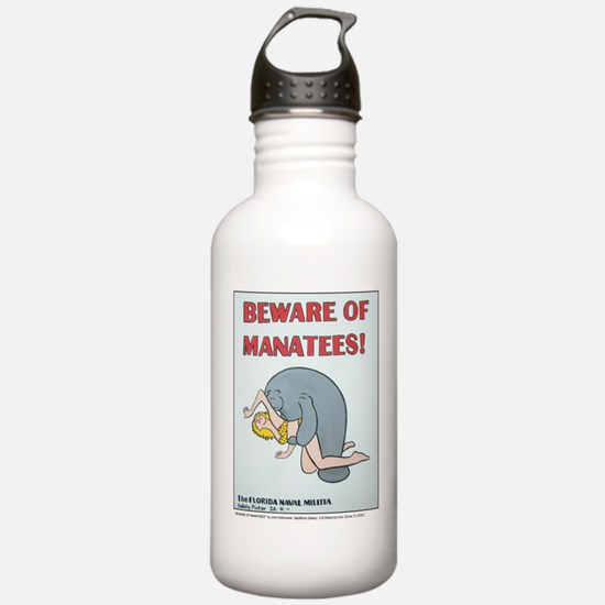 """BEWARE OF MANATEE"" Water Bottle"