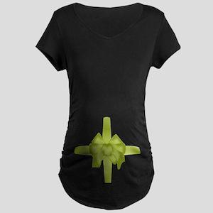 Green Tummy Bow Maternity Dark T-Shirt
