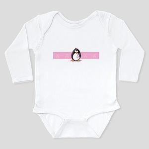 Pink Ribbon Penguin Long Sleeve Infant Bodysuit