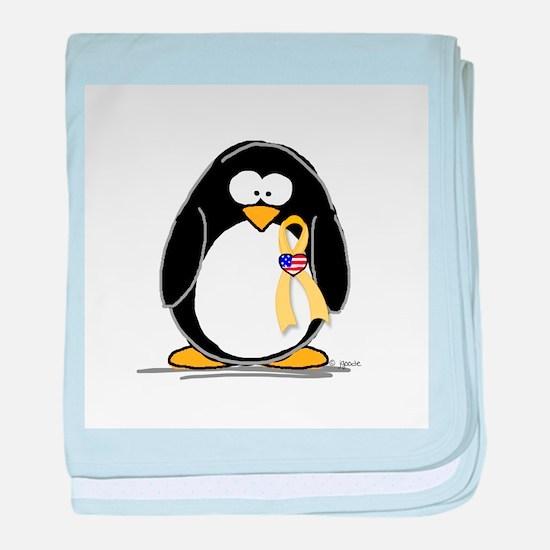 Support Troops Penguin baby blanket
