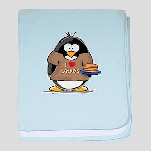 I Love Latkes Penguin baby blanket