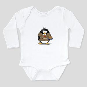 I Love Latkes Penguin Long Sleeve Infant Bodysuit