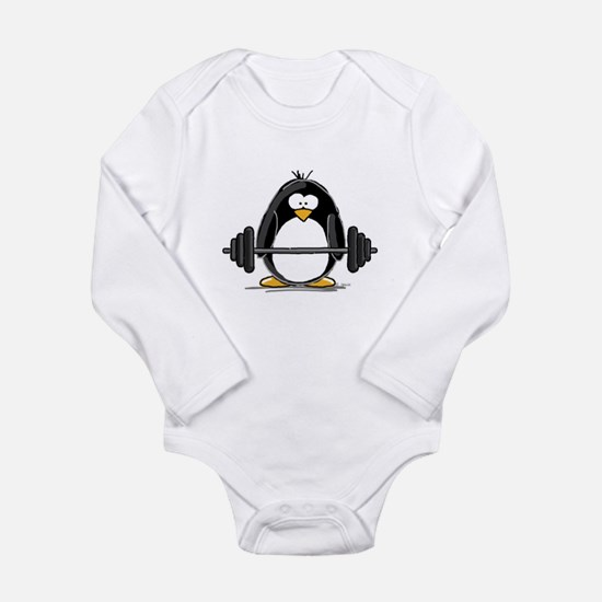 Weight lifting penguin Long Sleeve Infant Bodysuit