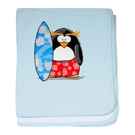 Surfing Macaroni Penguin baby blanket