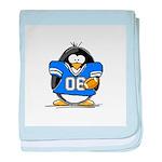 Blue Football Penguin baby blanket