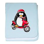 Red Scooter Penguin baby blanket