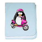 Pink Scooter Penguin baby blanket