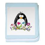 Garden penguin baby blanket