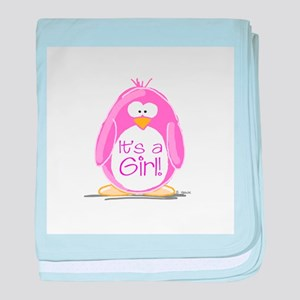 It is a Girl Penguin baby blanket