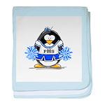 Blue CheerLeader Penguin baby blanket