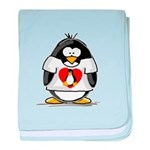 Heart tux Penguin baby blanket