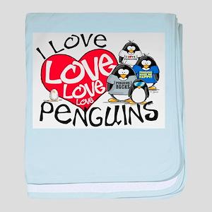I Love Love More Penguins baby blanket