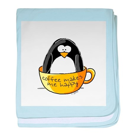 Coffee penguin baby blanket