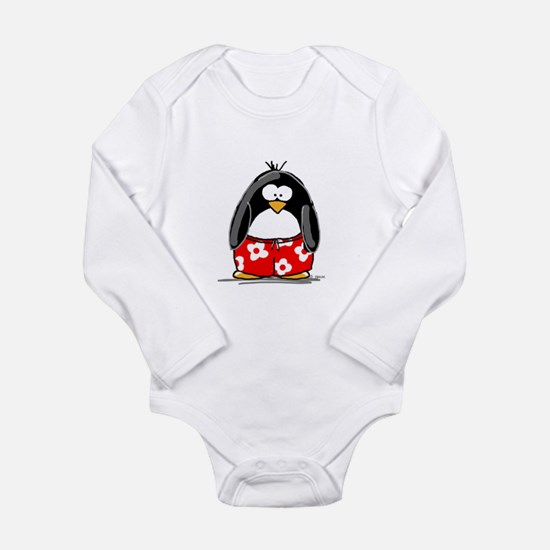Swim Trunk Penguin Long Sleeve Infant Bodysuit