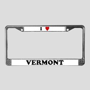 I Love Vermont License Plate Frame