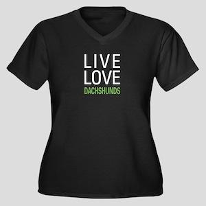 Live Love Dachshunds Women's Plus Size V-Neck Dark