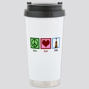 Peace Love Violin Stainless Steel Travel Mug