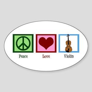 Peace Love Violin Sticker (Oval)