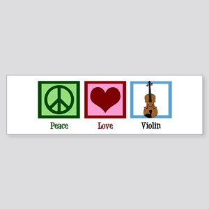 Peace Love Violin Sticker (Bumper)