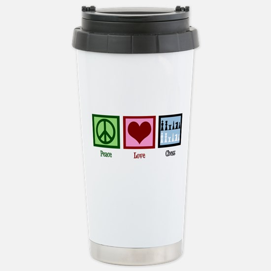 Peace Love Chess Stainless Steel Travel Mug