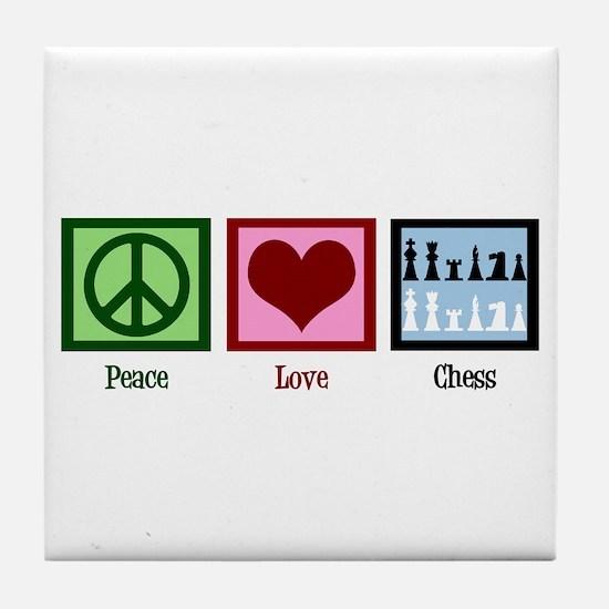 Peace Love Chess Tile Coaster