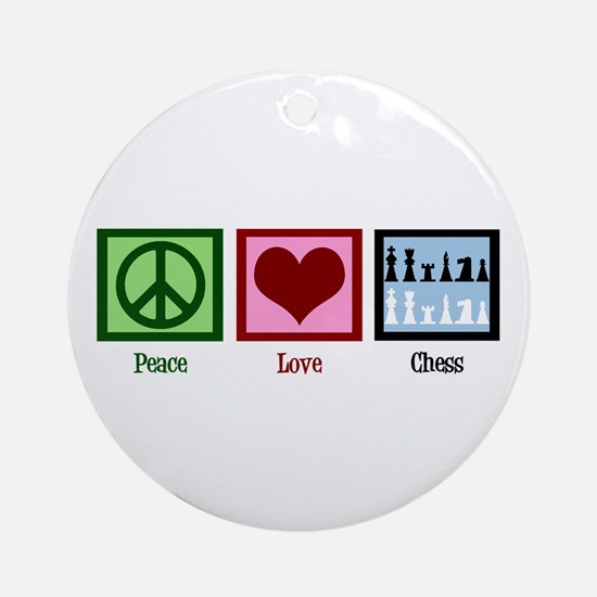 Peace Love Chess Ornament (Round)