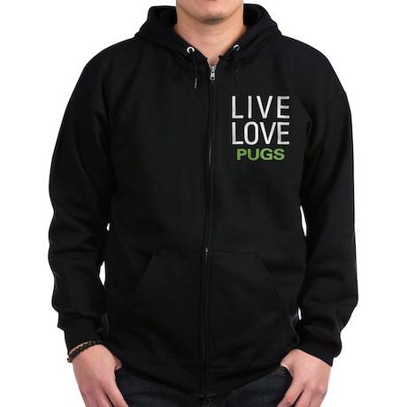 Live Love Pugs Zip Hoodie (dark)