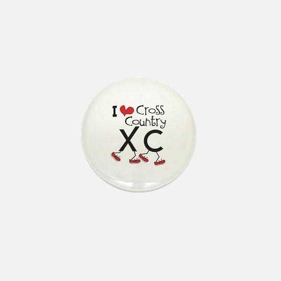 I heart Cross Country Mini Button