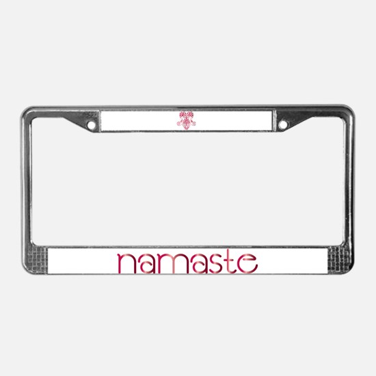 Namaste Tattoo in Ruby Red License Plate Frame