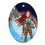 Space Girl Ornament (Oval)