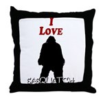 I Love Sasquatch Throw Pillow