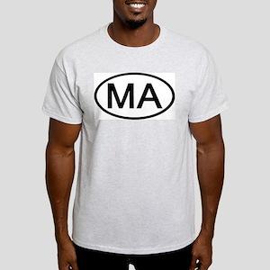 Massachusetts - MA - US Oval Ash Grey T-Shirt