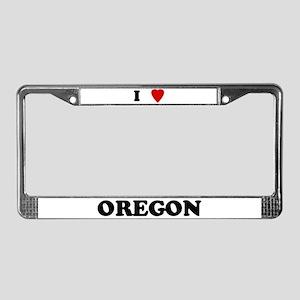 I Love Oregon License Plate Frame